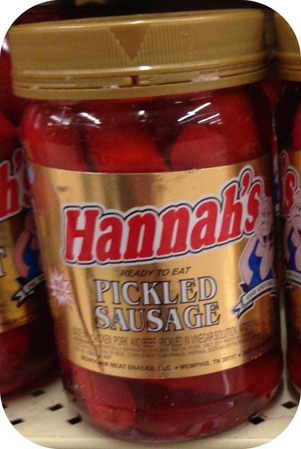 Hannah Pickled Pork Sausage Quart Jar Red Hot Meat Snack Weiners-0