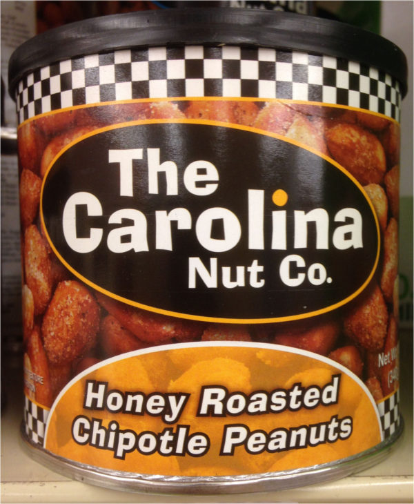 ONE 12 oz Can of Carolina Nuts in Honey Roasted Chipotle Peanuts Flavor Snack-0