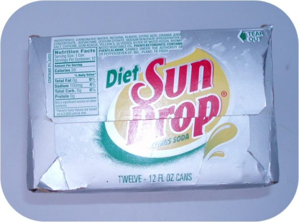 12 pack of DIET SUN DROP Cans cola pop drink SUNDROP Soda-8886