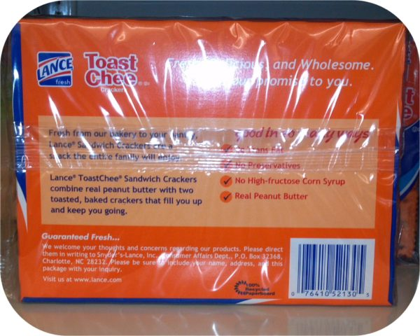 Toastchee Lance Sandwich Crackers Cheese Peanut Butter Crackers 6 pack NABS-19475